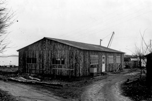 The first boatbuilding shop, which burned to the ground in 1954